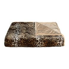 """50""""x70"""" Faux Fur Throw, Leopard"""