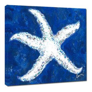 White Starfish Canvas Art, 20x20