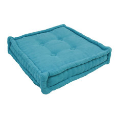 "20"" Square Corded Floor Pillow with Button Tufts, Aqua Blue"
