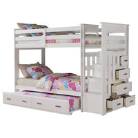 Allentown Twin-Over-Twin Bunk Bed With Storage Ladder and Trundle, White