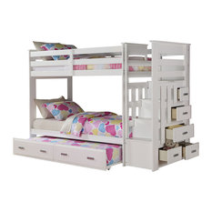Acme Allentown Twin/Twin Bunk Bed With Storage Ladder and Trundle, White