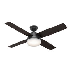 """Hunter 52"""" Dempsey Damp Matte Black Ceiling Fan With Light and Remote"""