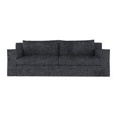 Mulberry 7' Crushed Velvet Sofa Graphite Extra Deep