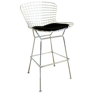 Terrific Mod Made Chrome Wire Barstool Red Contemporary Bar Beatyapartments Chair Design Images Beatyapartmentscom