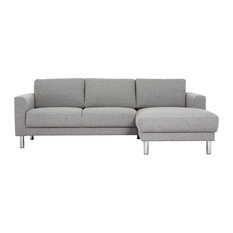 Cleveland Chaise Longue Sofa, Light Grey, Right Hand,Without Neck Pillow