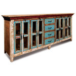 Crafters and Weavers - Rustic Distressed Reclaimed Solid Wood Sideboard, Curio Cabinet. Glass-Doors - Rustic Distressed Reclaimed Solid Wood Curio Cabinet. Glass door and shuttered cabinet door. It is a high quality piece, made with solid Pine wood and no veneer. Made with a lot of expertise and attention to details. A piece that you can proudly collect, put to great use and enjoy. Built to last a life time. Measures 84 inches wide, 36 inches high 18 inches deep. We are .