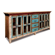 Rustic Distressed Reclaimed Solid Wood Sideboard, Curio Cabinet. Glass-Doors