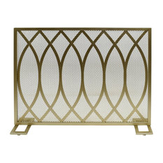 Junior Modern Single PanelIron Fire Screen, Gold Finish