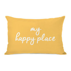 """My Happy Place"" Outdoor Throw Pillow by OneBellaCasa, Dandelion, 14""x20"""