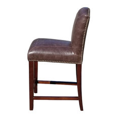 ARTEFAC   Leather Counter Stool, Distress Brown Leather, Counter Seat   Bar  Stools And