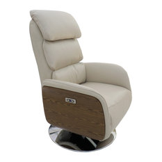 Leather Power Recliner With Wood Sides Sand