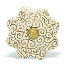 Gold/White Ceramic Cabinet Knobs, Set of 2