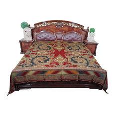MogulInterior - Pashmina Blanket Throw Red Black Reversible Bedspread King Sz - Blankets