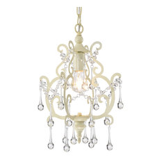 1-Light Ivory White Mini Pendant Chandelier With Raindrop Crystals Glam
