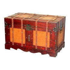 Vintiquewise - Large Antique Style Steamer Trunk, Decorative Storage Box - Decorative Trunks