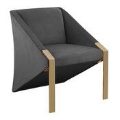 Rivet Velvet Accent Chair, Gray