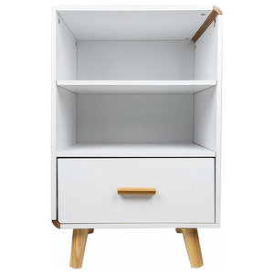 Modern Bedside Table, White Painted Chipboard With Drawer and Open Shelves