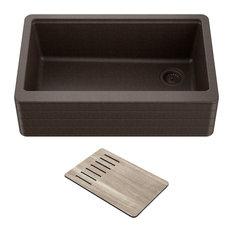 "Bellucci Workstation 30"" Farmhouse Apron Granite Composite Kitchen Sink MBR"