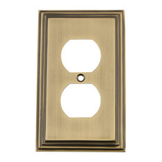 NW Deco Switch Plate With Outlet, Antique Brass