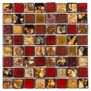 "11.8""x11.8"" Tropical Flower Ceramic Mosaic, Set of 50"
