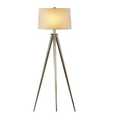 "Artiva USA Hollywood 63"" LED Tripod Floor Lamp With Dimmer, Satin Nickel"