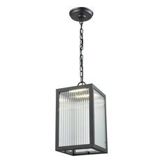 """Bishop Outdoor 14.5"""" Outdoor Lantern, Black, Ribbed Glass Stainless Steel"""