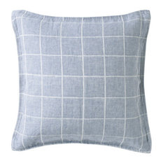 - WASHED LINEN TWILL CUSHION COVER BLUE CHECK - Scatter Cushions