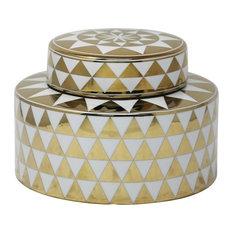 Sagebrook Home White/Gold Jar, Triangle Pattern