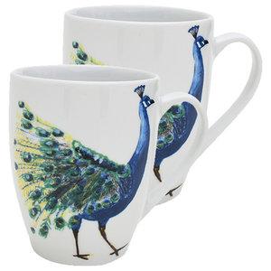 Peacock Head Mugs, Set of 2