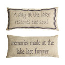 Lake House Memories Double Sided Tan Pillow Indoor Outdoor Lake Gifts and Decor