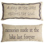 Evelyn Hope Collection - Lake House Memories Double Sided Tan Pillow Indoor Outdoor Lake Gifts and Decor - Evelyn Hope collection pillows are unique, they have specially designed messages on the front and back. Zippered covers are easy to change for every reason and season. Order is for one pillow with insert, with a different design on each side. Inserts are USA made, mold resistant polyester. Indoor-Outdoor