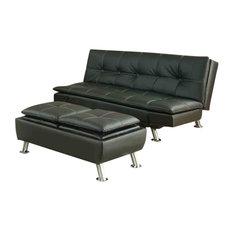 Coaster Home Furnishings - Metal Leg Faux Leather Sofa Bed Futon, Black, With Ottoman - Futons