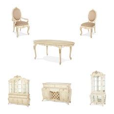 Michael Amini   Lavelle Blanc Oval Dining Room Set, 10 Piece Set   Dining
