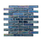 "11.75""x11.75"" Ocean Breeze Random Brick Mosaic Tile, Cobalt Sea"