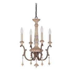 Capital Lighting 4094FO Chateau 4-Light Chandelier, Solid Wood Column, Oak