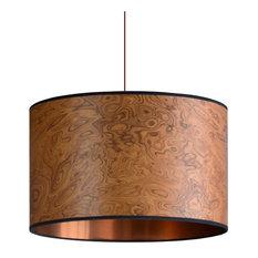 Medium Burl Wood Veneer Drum Lampshade, 60 cm