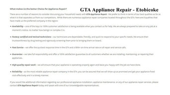 Appliance Repair Etobicoke - GTA Appliance Repair (647) 258-4157