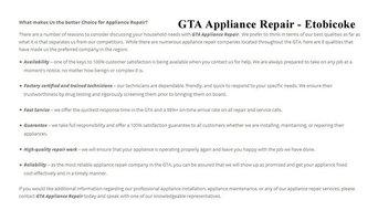 Appliance Repair Etobicoke - GTA Appliance Repair (647) 258-4157