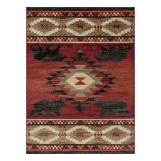 Rancho Novelty Lodge Red Rectangle Area Rug, 8' x 10'