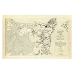Official Plan Of The Siege Of Yorktown Virginia 1862 Paper Art 24 X16 Contemporary Prints And Posters By Global Gallery