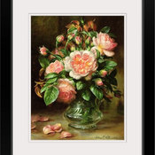 "English Elegance Roses in a Glass Black Framed Art Print, 20""x24""x1"""