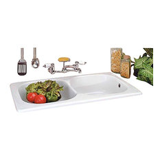Kitchen Farmhouse Drop-In Counter Sink Porcelain Double Bowl