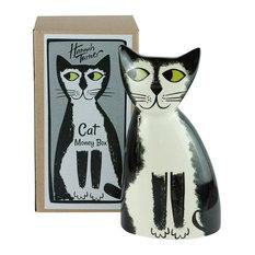 Cat Money Box, Black/White