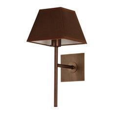 Lund Wall Light, Antique Brass, Brown Shade