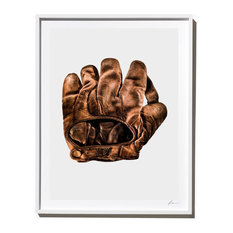 US Army Baseball Glove, Photograph, Back View, White Frame, 40''x52''