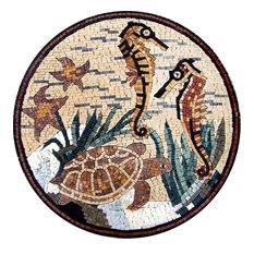 Sea Creatures Mosaic Medallion, 24x24