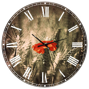 Vintage Butterfly And Cherry Tree Floral Round Metal Wall Clock Contemporary Wall Clocks By Design Art Usa