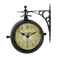 Infinity Instruments, Ltd.   Infinity Instruments Two Sided Rustic  Charleston Clock/Thermometer