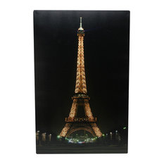 Battery Operated 9 LED Lighted Eiffel Tower Scene Canvas Wall Hanging, 15.75""
