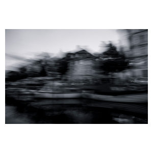 Abstract Canal Fine Art Print, Black and White, 75x50 cm